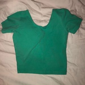 Short Sleeve Aqua Crop Top